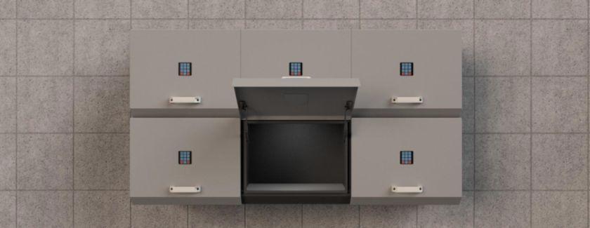 drops smart delivery box 3d simulacija plavi ured